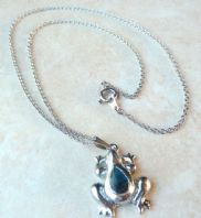 Frog Pendant With Abalone Shell Inlay And Necklace Chain